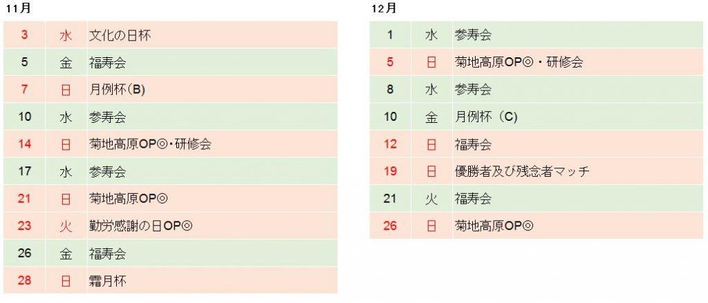 菊池高原ゴルフクラブ2021年11月、12月競技日程