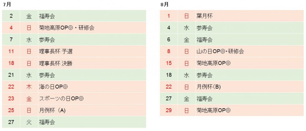 菊池高原ゴルフクラブ2021年7月、8月競技日程