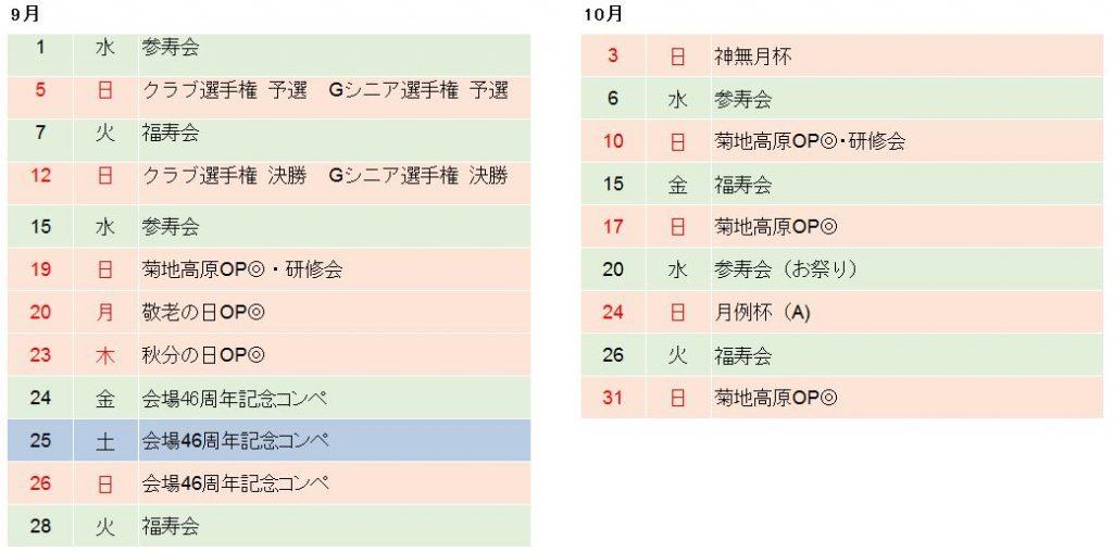 菊池高原ゴルフクラブ2021年9月、10月競技日程